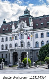 LJUBLJANA, SLOVENIA - AUGUST 6, 2016: Medieval Old city centre: Congress Square (Kongresni trg). Ljubljana - cultural, educational, economic, political and administrative center of Slovenia.