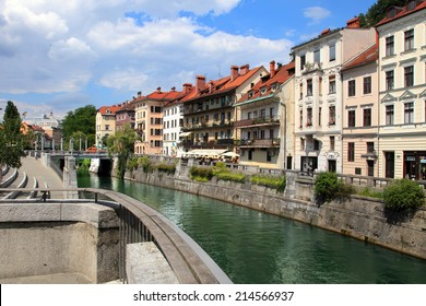 LJUBLJANA, SLOVENIA - CIRCA JULY 2014: Old town embankment in Ljubljana. Ljubljana is the business and cultural center of the country.