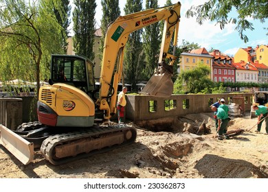 LJUBLJANA, SLOVENIA - CIRCA JULY 2014: Construction works on the embankment  in Ljubljana. Ljubljana is the business and cultural center of the country.