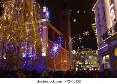 LJUBLJANA - SLOVENIA - DECEMBER 1, 2017: Official lighting of holiday christmas lights in the center of Ljubljana, the capital of Slovenia.