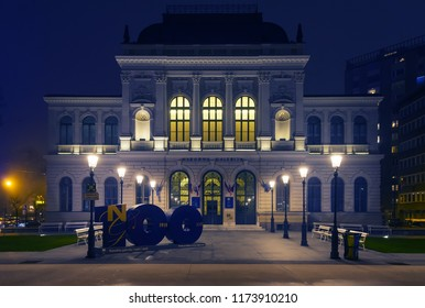 Ljubljana, Slovenia - December 29, 2017: Facade of Slovenian National Gallery on 100th anniversary. Building of National Gallery of Slovenia with 100th anniversary sign in front. Narodna galerija