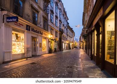 Ljubljana / Slovenia - December 29 2018:  Decorated shops in the old part of  Ljubljana on christmas time in Ljubljana, Slovenia.