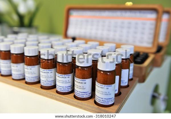 Ljubljana, Slovenia (Europe). 13 Feburary 2012. Homeopathic drugs in little bottles.