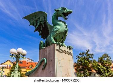 Ljubljana, Slovenia. Famous Dragon bridge (Zmajski most), symbol of Ljubljana.
