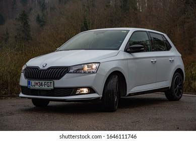 LJUBLJANA, SLOVENIA - FEBRUARY 11, 2020: Skoda Fabia Monte Carlo Edition 1.0 TSI 110 hp engine DSG modern compact city Czech car