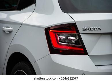 LJUBLJANA, SLOVENIA - FEBRUARY 11, 2020: Skoda Fabia Monte Carlo Edition 1.0TSI 110 hp engine DSG modern compact city Czech car tail light