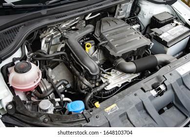 LJUBLJANA, SLOVENIA - FEBRUARY 11, 2020: Skoda Fabia Monte Carlo Edition 1.0 TSI 110 hp engine DSG modern compact city Czech car engine motor bay