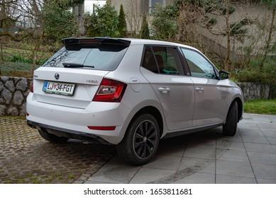 LJUBLJANA, SLOVENIA - FEBRUARY 11, 2020: Skoda Fabia Monte Carlo Edition 1.0TSI 110 hp engine DSG modern compact city Czech car rear view