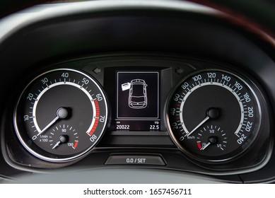 LJUBLJANA, SLOVENIA - FEBRUARY 11, 2020: Skoda Fabia Monte Carlo Edition 1.0TSI 110 hp engine DSG modern compact city Czech car interior dashboard.