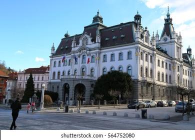 Ljubljana, Slovenia - January, 05, 2017: Headquarters building of University, Ljubljana
