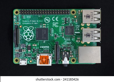 LJUBLJANA, SLOVENIA - JANUARY 1, 2015: New Raspberry Pi version B+ V1.2 computer developed in the UK by the Raspberry Pi Foundation. Model B+ has 4 USB ports, more memory and larger GPIO connector.