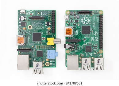 LJUBLJANA, SLOVENIA - JANUARY 1, 2015: Raspberry Pi version B on the left and new version B+ on the right. New model has 4 USB ports, more memory, larger GPIO connector and some other improvements.