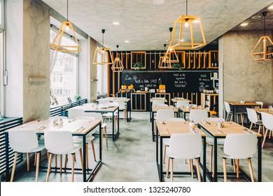Ljubljana, Slovenia - January 16, 2019: Interior of a modern restaurant at Ljubljana in Slovenia.