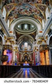 Ljubljana / Slovenia - January 19 2015:  Beautiful artwork inside Saint Nicholas Cathedral in Ljubljana, Slovenia