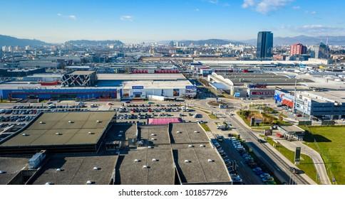 Ljubljana, Slovenia - January 23, 2018: Aerial panoramic view of BTC City in Ljubljana, Slovenia. BTC City is biggest Slovenian shopping, commercial, cultural, recreational and amusement centre.