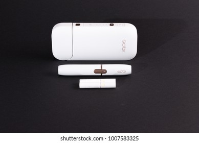 Ljubljana, Slovenia - January 4 2018: Newest electronic cigarettes, heating tobacco system IQOS is being introduced on European market