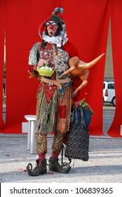 LJUBLJANA, SLOVENIA - JULY 1: Jester Jolly Goodfellow from Australia as Rumpelstiltskin at traditional street theater festival Ana Desetnica on July 1, 2012 in Ljubljana, Slovenia. Posing