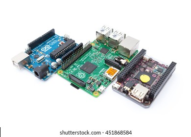LJUBLJANA, SLOVENIA - JULY 10, 2016: Three education oriented computer products: Arduino micro-controller on the left, Raspberry Pi in the middle and 9$ C.H.I.P.   single-board computer on the right.