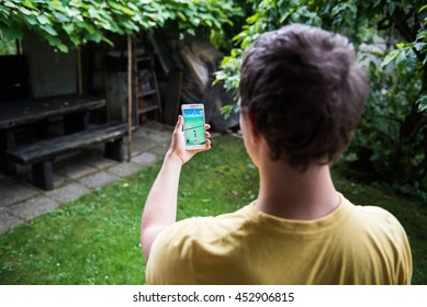 Ljubljana, Slovenia - July 15: An Android user plays Pokemon Go, a free-to-play augmented reality mobile game developed by Niantic for iOS and Android devices.