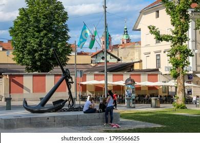 Ljubljana, Slovenia - July 16th 2018: The Spomenik Sidro anchor in Park Zvezda, next to Congress Square, Ljubljana