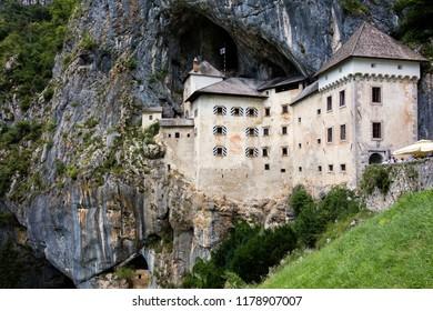 Ljubljana, Slovenia, July 21, 2018: Predjama Castle, located in the village of Predjama, Slovenia, built in 1570 in the Renaissance style.