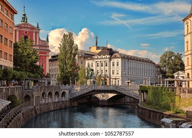 LJUBLJANA, SLOVENIA -  JULY 28, 2017: Old town embankment in Ljubljana. Ljubljana is the business and cultural center of the country.