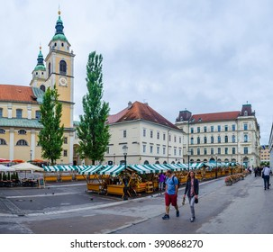 LJUBLJANA, SLOVENIA, JULY 29, 2015: View of street leading to the cathedral in the slovenian capital ljubljana taken from the central market.