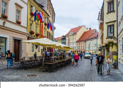 LJUBLJANA, SLOVENIA. JULY 29, 2015: view of the ciril-metodov trg square in the medieval center of ljubljana