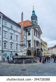 LJUBLJANA, SLOVENIA, JULY 29, 2015: Romantic Ljubljana's city center, the capital of Slovenia, Europe. City hall and Roba's fountain