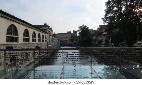 Ljubljana / Slovenia - July 8, 2016: Love locks on Butcher's Bridge and Triple Bridge in Ljubljana, capital of Slovenia.