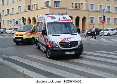 LJUBLJANA, SLOVENIA - JUNE 17, 2019: Emergency ambulance Mercedes-Benz Sprinter and Ford Transit on duty in the capital city street