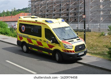 LJUBLJANA, SLOVENIA - JUNE 17, 2019: Ambulance medical emergency Ford Transit van on duty in the city street