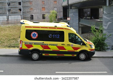 LJUBLJANA, SLOVENIA - JUNE 17, 2019: Ambulance emergency van on duty