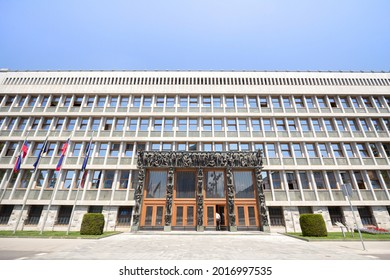 LJUBLJANA, SLOVENIA - JUNE 17, 2021: Main facade of the Slovenian Parlament, also called Parlament, or Drzavni zbor, the house of National assembly and national council.