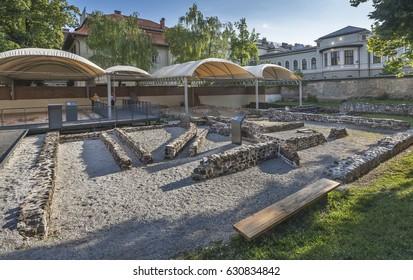 LJUBLJANA, SLOVENIA - JUNE 21, 2014: Ruins of early christian baptistery in Emona