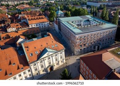 LJUBLJANA, SLOVENIA - JUNE 21, 2021: Aerial view of square Novi trg and the University library designed by Joze Plecnik