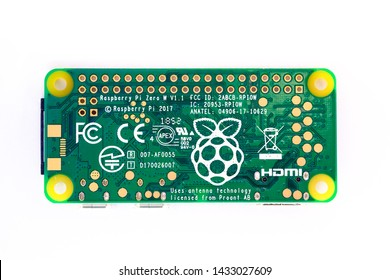Ljubljana, Slovenia - June 24 2019:  Photo showing very affordable 10€ Raspberry Pi Zero single board computer model W from the famous Raspberry Pi product family, suitable for education, DIY, etc.