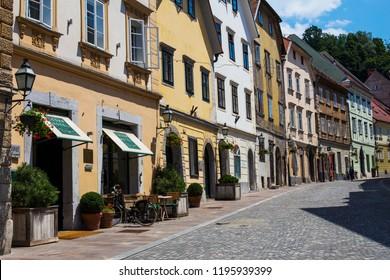 LJUBLJANA. SLOVENIA - JUNE 30, 2018: View at street in Ljubljana, Slovenia. Ljubljana is capital and largest city of Slovenia.