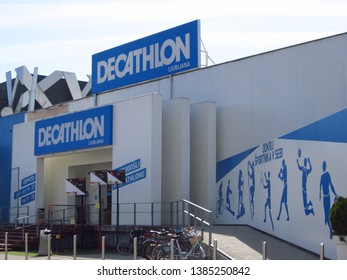 LJUBLJANA, SLOVENIA - MARCH 22 2019: Decathlon sign on a wall. Decathlon is a french company and one of the world's largest sporting goods retailers