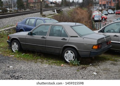 LJUBLJANA, SLOVENIA - MARCH 7, 2016: Mercedes-Benz 190E W201 compact luxury 1980s German car called 'Baby Benz' on the street
