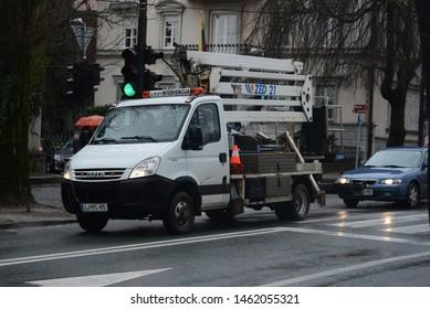 LJUBLJANA, SLOVENIA - MARCH 7, 2016: Modern Iveco Daily construction truck on the city street