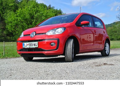 LJUBLJANA, SLOVENIA - MAY 10, 2017: VOLKSWAGEN UP compact car on the country road in Central Europe