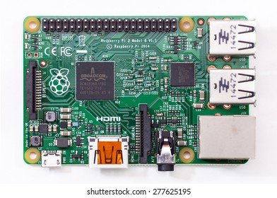LJUBLJANA, SLOVENIA - MAY 12, 2015: Raspberry Pi Generation 2 Model B was released in February 2015. In addition to Linux variants it runs also Windows 10. It is six times faster than predecessor.