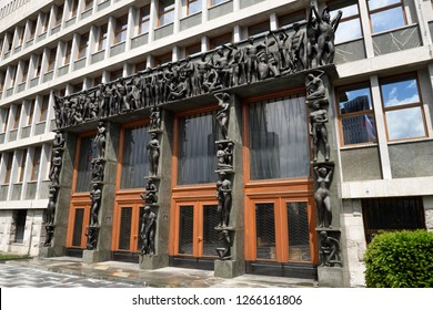 Ljubljana, Slovenia - May 12, 2017: Entrance to the National Assembly Building of Slovenia Slovenian Parliament in Ljubljana with sculptures of naked working people by Kalin and Putrih