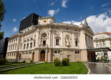 Ljubljana, Slovenia - May 12, 2017: Neo Renaissance architecture of the Slovenian National Opera and Ballet Theatre of Ljubljana Slovenia in sun after a rain storm