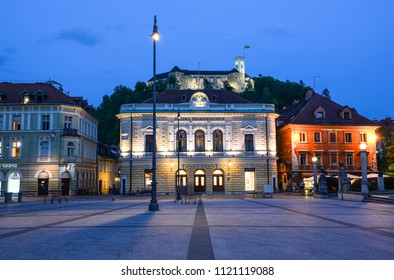 Ljubljana, Slovenia - May 20, 2018: Evening view on Congress square and Ljubljana's castle,  Ljubljana, Slovenia Ljubljana is the capital of Slovenia