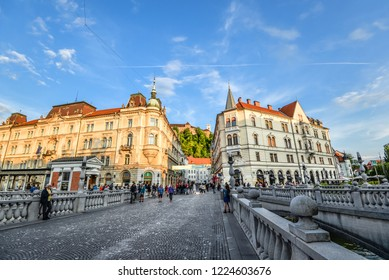 Ljubljana, Slovenia - May 20, 2018: View on city center, old buildings and Ljubljana's castle, Ljubljana, Slovenia. Ljubljana is the capital of Slovenia