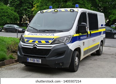 LJUBLJANA, SLOVENIA - MAY 23, 2019: Police (Slovenian - Policija) Van Citroen on duty in the city street