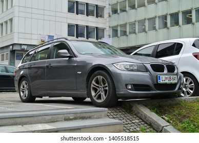 LJUBLJANA, SLOVENIA - MAY 23, 2019: BMW E91 Touring estate station wagon popular German compact executive luxury 2000s car on the city ctreet