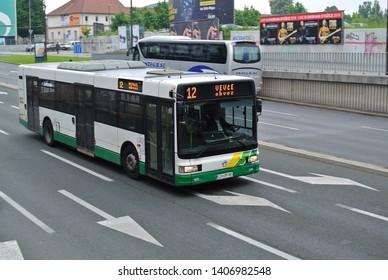 LJUBLJANA, SLOVENIA - MAY 23, 2019: Irisbus modern bus public transport Ljubljana (LPP transport company) pictured on the Slovenian capital city street at work